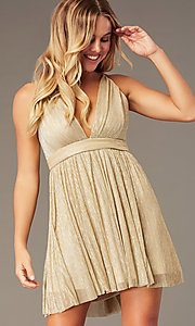 Image of short homecoming v-neck metallic party dress. Style: LP-27728 Detail Image 7