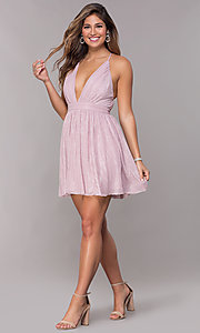 Image of short homecoming v-neck metallic party dress. Style: LP-27728 Detail Image 3