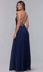 Image of open-back square-neck long chiffon formal dress. Style: LP-27747 Back Image