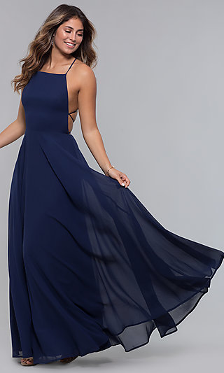Open-Back Square-Neck Long Chiffon Formal Dress