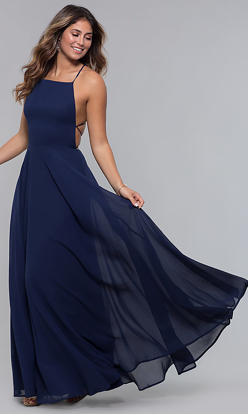 Image of open-back square-neck long chiffon formal dress. Style: LP-27747 Front Image