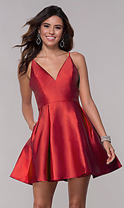 Image of short homecoming fit-and-flare v-neck dress. Style: LP-27732 Detail Image 2