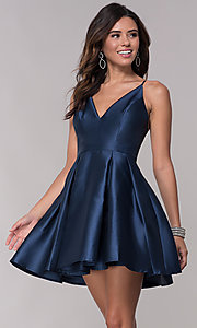 Image of short homecoming fit-and-flare v-neck dress. Style: LP-27732 Detail Image 1