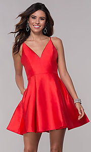 Image of short homecoming fit-and-flare v-neck dress. Style: LP-27732 Front Image