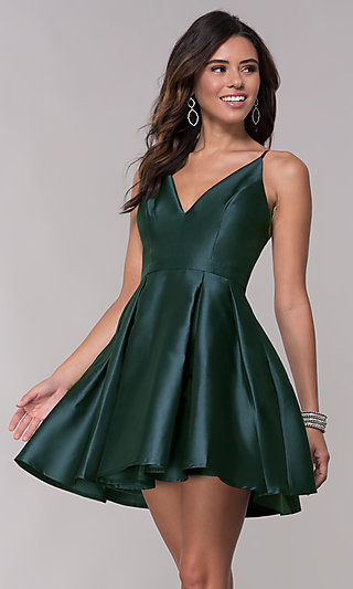 Short Homecoming Fit-and-Flare V-Neck Dress