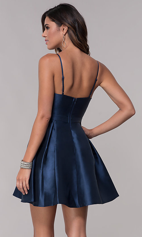 Image of short homecoming fit-and-flare v-neck dress. Style: LP-27732 Back Image