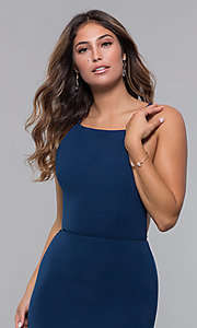Image of long tied-open-back formal dress with train. Style: LP-27726 Detail Image 3