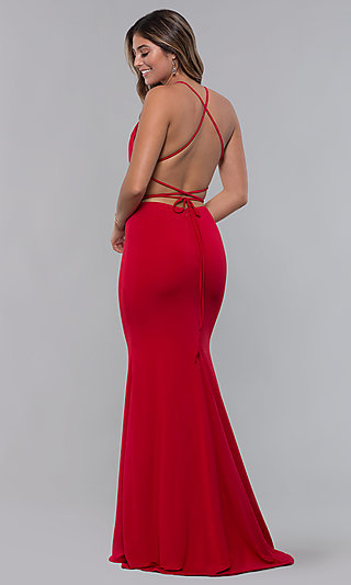 Long Tied-Open-Back Formal Dress with Train