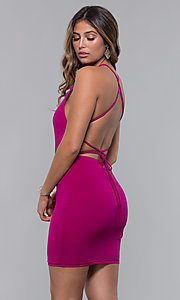 Image of short homecoming party dress with corset back. Style: LP-27693 Detail Image 4