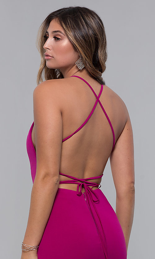 Image of short homecoming party dress with corset back. Style: LP-27693 Detail Image 6