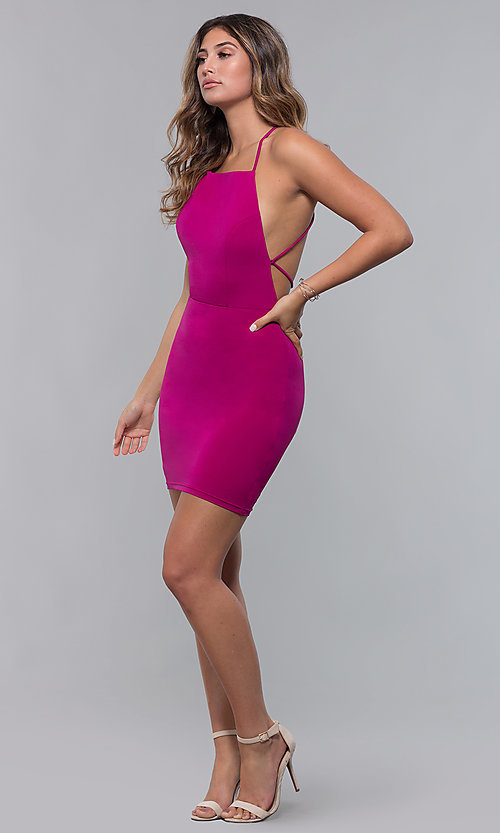 Image of short homecoming party dress with corset back. Style: LP-27693 Detail Image 7