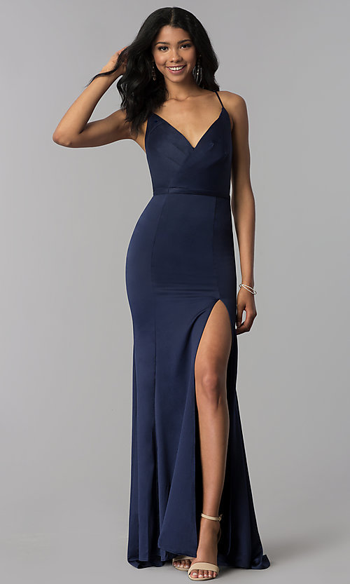 Image of satin v-neck long formal dress with side slit. Style: LP-25566 Front Image