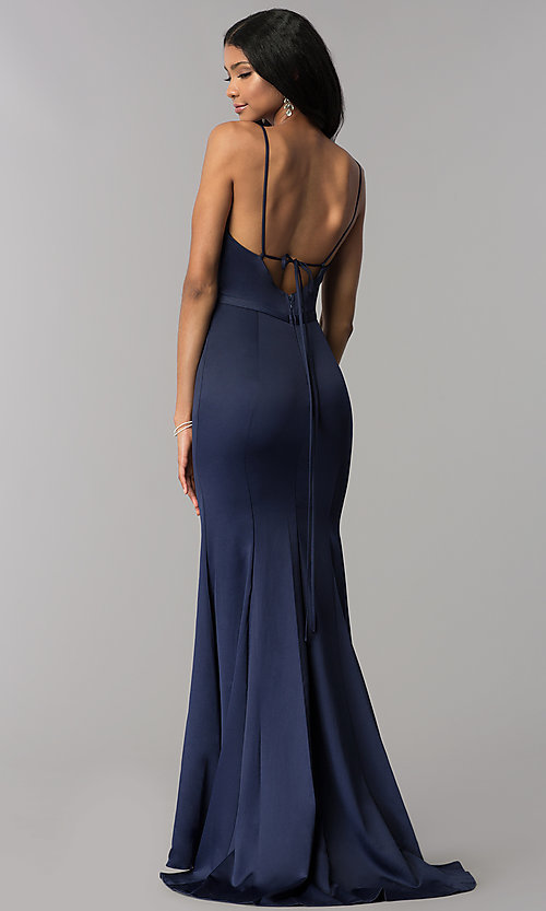 Image of satin v-neck long formal dress with side slit. Style: LP-25566 Back Image