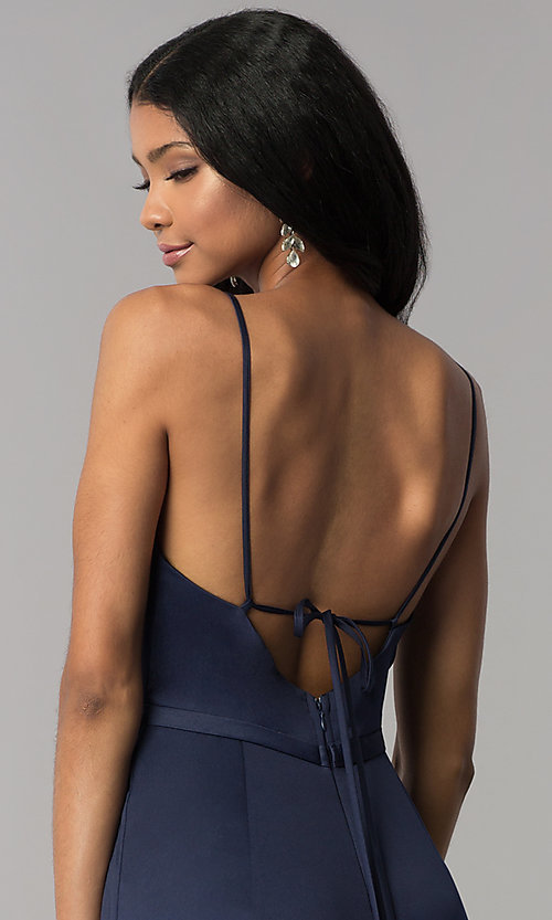 Image of satin v-neck long formal dress with side slit. Style: LP-25566 Detail Image 3
