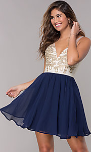 Image of metallic-applique-bodice short navy homecoming dress. Style: LP-27705 Front Image