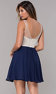 Image of metallic-applique-bodice short navy homecoming dress. Style: LP-27705 Back Image