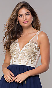 Image of metallic-applique-bodice short navy homecoming dress. Style: LP-27705 Detail Image 1
