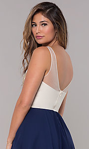 Image of metallic-applique-bodice short navy homecoming dress. Style: LP-27705 Detail Image 2