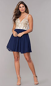 Image of metallic-applique-bodice short navy homecoming dress. Style: LP-27705 Detail Image 3