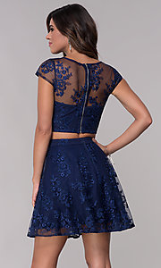Image of cap-sleeve embroidered-mesh two-piece party dress. Style: LP-90141 Detail Image 2