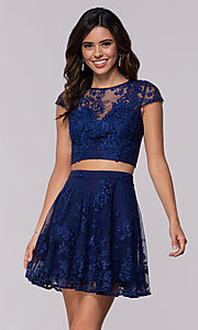 Image of cap-sleeve embroidered-mesh two-piece party dress. Style: LP-90141 Detail Image 1