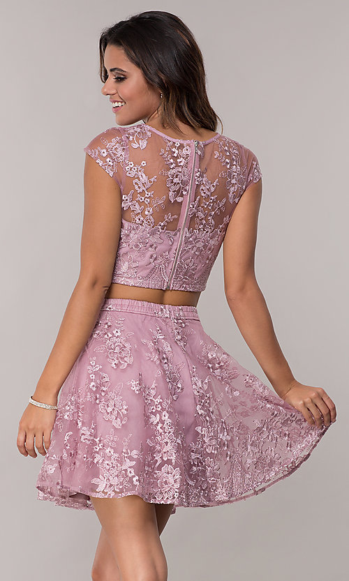 Image of cap-sleeve embroidered-mesh two-piece party dress. Style: LP-90141 Back Image