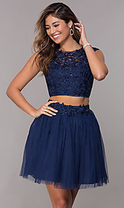 Image of two-piece navy homecoming dress with embroidery. Style: LP-90233 Front Image