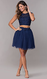 Image of two-piece navy homecoming dress with embroidery. Style: LP-90233 Detail Image 3
