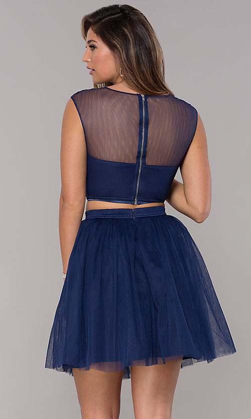 Image of two-piece navy homecoming dress with embroidery. Style: LP-90233 Back Image