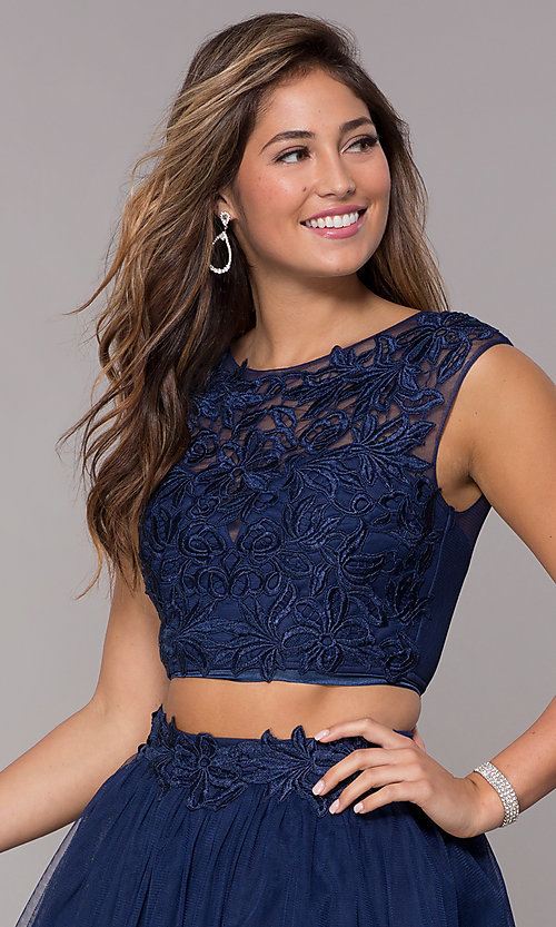 Image of two-piece navy homecoming dress with embroidery. Style: LP-90233 Detail Image 1
