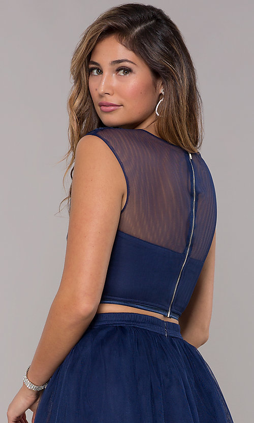 Image of two-piece navy homecoming dress with embroidery. Style: LP-90233 Detail Image 2