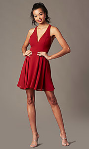 Image of short chiffon v-neck homecoming dress with sash. Style: LP-27639 Detail Image 3