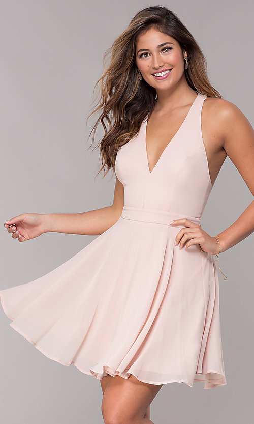 Image of short chiffon v-neck homecoming dress with sash. Style: LP-27639 Front Image