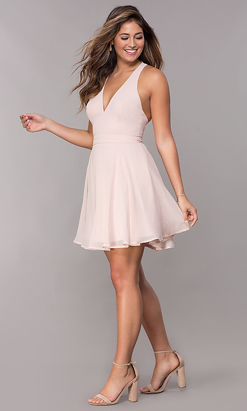 Image of short chiffon v-neck homecoming dress with sash. Style: LP-27639 Detail Image 2