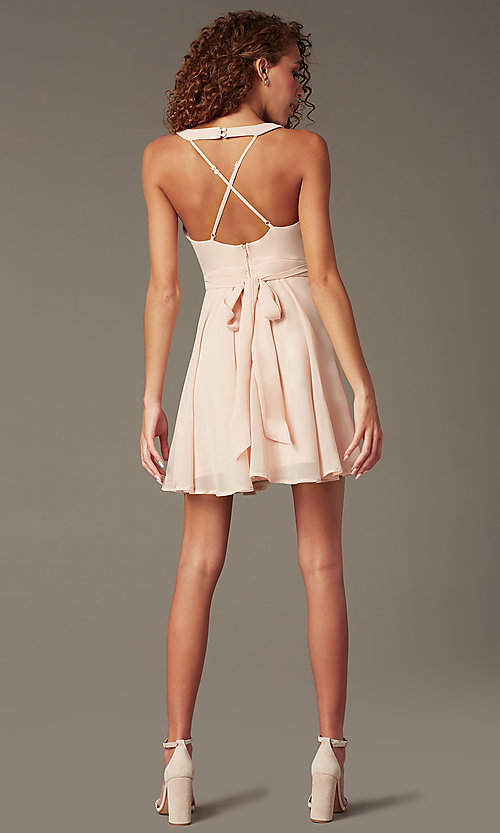 Image of short chiffon v-neck homecoming dress with sash. Style: LP-27639 Back Image