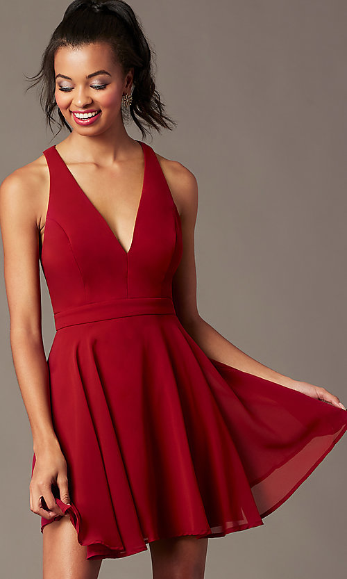 Image of short chiffon v-neck homecoming dress with sash. Style: LP-27639 Detail Image 5