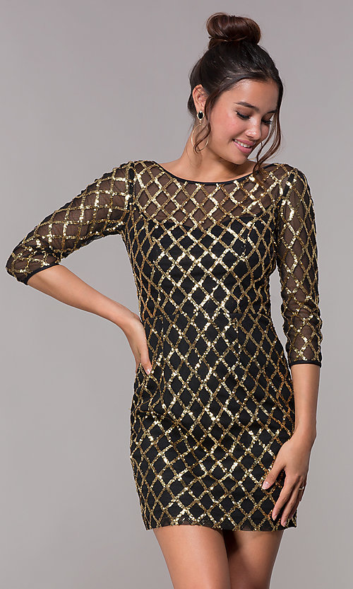 c3128b4ae2c7 Image of 3/4-sleeved sequin-pattern short homecoming dress. Style: