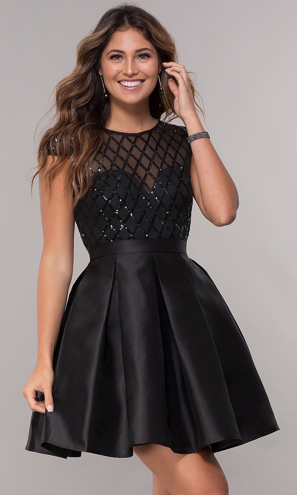 Short Homecoming Party Sequin-Bodice Dress