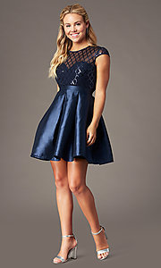 Image of homecoming short sequin-bodice party dress. Style: LP-24748 Front Image