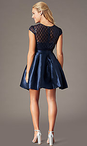 Image of homecoming short sequin-bodice party dress. Style: LP-24748 Back Image