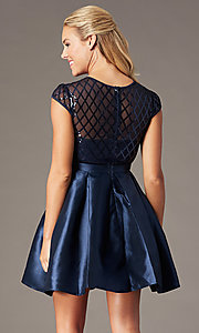 Image of homecoming short sequin-bodice party dress. Style: LP-24748 Detail Image 2
