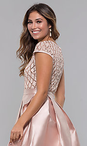 Image of homecoming short sequin-bodice party dress. Style: LP-24748 Detail Image 3
