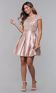Image of homecoming short sequin-bodice party dress. Style: LP-24748 Detail Image 4