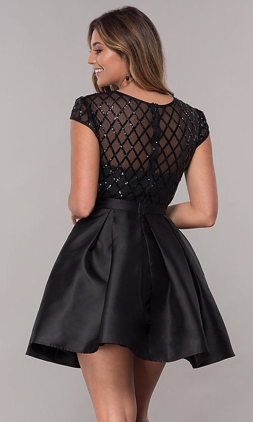 Image of homecoming short sequin-bodice party dress. Style: LP-24748 Detail Image 6