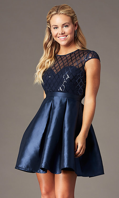 Image of homecoming short sequin-bodice party dress. Style: LP-24748 Detail Image 1