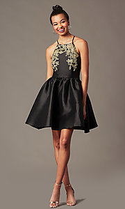 Image of satin short a-line homecoming dress with pockets. Style: LP-25524 Detail Image 4