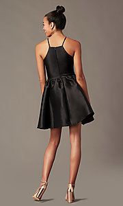 Image of satin short a-line homecoming dress with pockets. Style: LP-25524 Detail Image 5