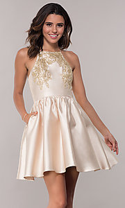 Image of satin short a-line homecoming dress with pockets. Style: LP-25524 Front Image