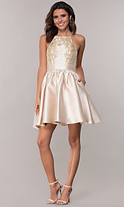 Image of satin short a-line homecoming dress with pockets. Style: LP-25524 Detail Image 3