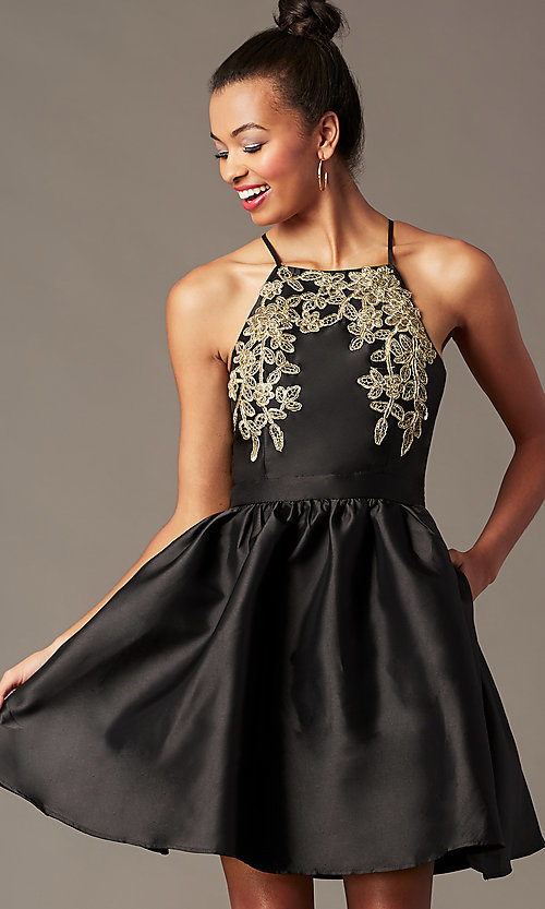 Image of satin short a-line homecoming dress with pockets. Style: LP-25524 Detail Image 6
